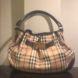 BURBERRY Haymarket Medium Willenmore Hobo Choc